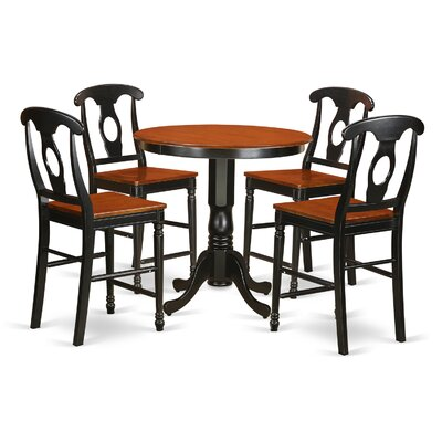 Jackson 5 Piece Counter Height Pub Table Set Finish: Black/Cherry