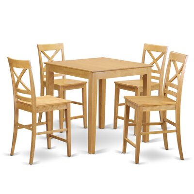 5 Piece Counter Height Pub Table Set Color: Oak
