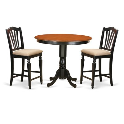 Trenton 3 Piece Counter Height Pub Table Set Finish: Black/Cherry