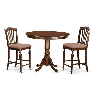 Trenton 3 Piece Counter Height Pub Table Set Color: Mahogany