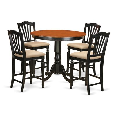 Trenton 5 Piece Counter Height Pub Table Set Finish: Black/Cherry