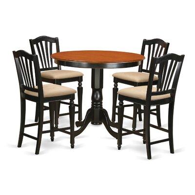 Trenton 5 Piece Counter Height Pub Table Set Finish: Black/Cherry