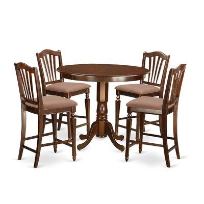 Trenton 5 Piece Counter Height Pub Table Set Finish: Mahogany