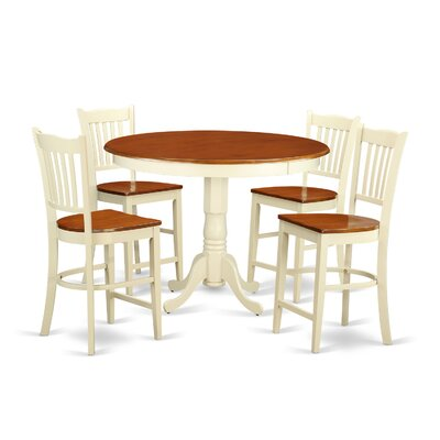 Trenton 5 Piece Counter Height Pub Table Set Finish: Buttermilk/Cherry