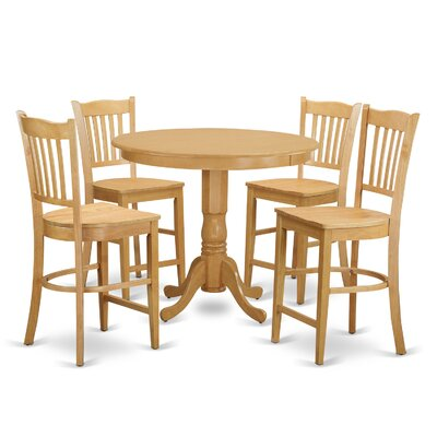Trenton 5 Piece Counter Height Pub Table Set Finish: Oak