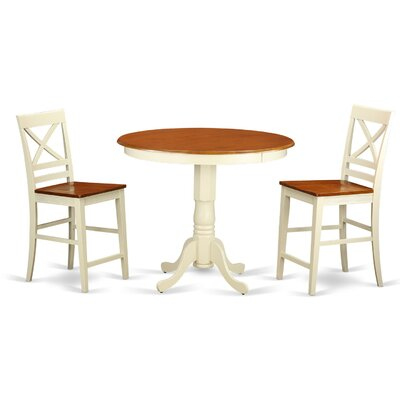 Jackson 3 Piece Counter Height Pub Table Set Finish: Buttermilk/Cherry