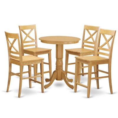 Eden 5 Piece Counter Height Pub Table Set Color: Oak