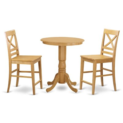 Eden 3 Piece Counter Height Pub Table Set Color: Oak