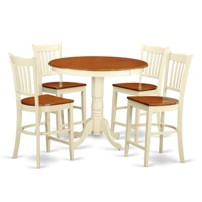 Jackson 5 Piece Counter Height Pub Table Set Color: Buttermilk/Cherry