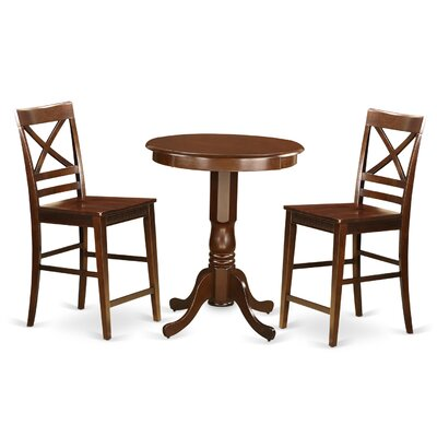 Eden 3 Piece Counter Height Pub Table Set Color: Mahogany