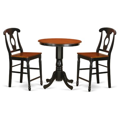 Eden 3 Piece Counter Height Pub Table Set Finish: Black/Cherry