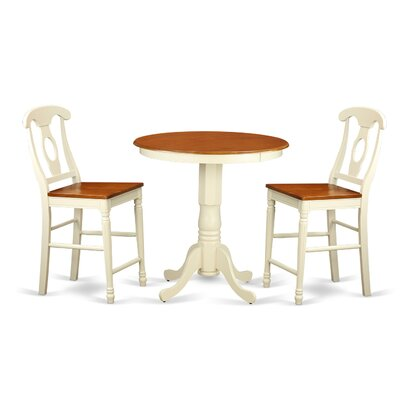 Eden 3 Piece Counter Height Pub Table Set Color: Buttermilk/Cherry