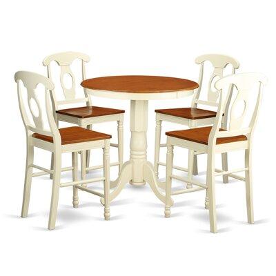Eden 5 Piece Counter Height Pub Table Set Color: Buttermilk/Cherry