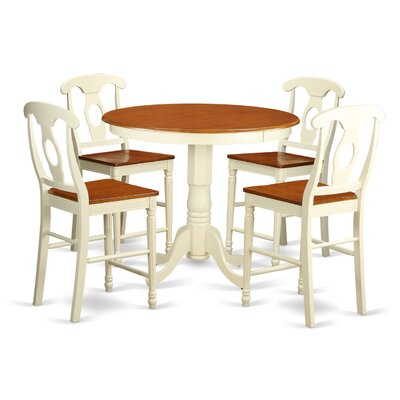 Jackson 5 Piece Counter Height Pub Table Set Finish: Buttermilk/Cherry