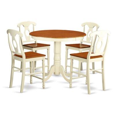 Jackson 5 Piece Counter Height Pub Table Set Color: Buttermilk/Cherry