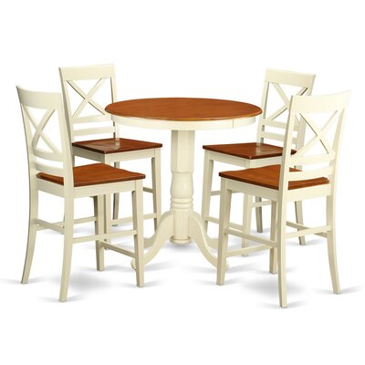 Eden 5 Piece Counter Height Pub Table Set Finish: Buttermilk/Cherry