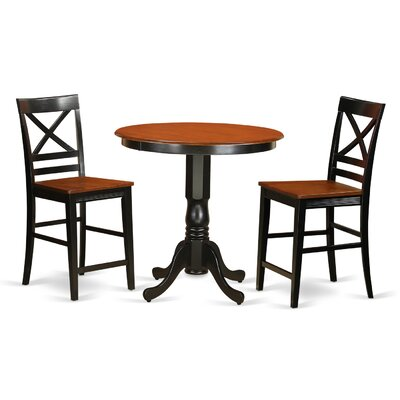 Jackson 3 Piece Counter Height Pub Table Set Color: Black/Cherry