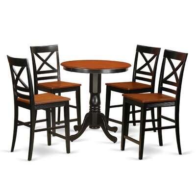 Eden 5 Piece Counter Height Pub Table Set Color: Black/Cherry