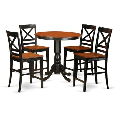 Jackson 5 Piece Counter Height Pub Table Set Color: Black/Cherry