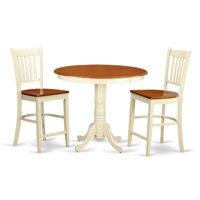 Jackson 3 Piece Counter Height Pub Table Set Color: Buttermilk/Cherry