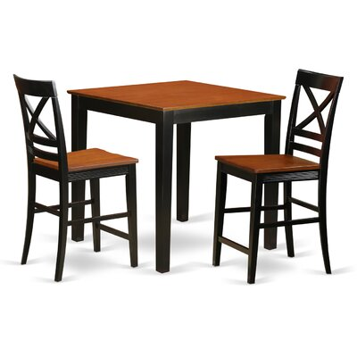 3 Piece Counter Height Pub Table Set Color: Black/Cherry