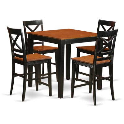 5 Piece Counter Height Pub Table Set Finish: Black/Cherry
