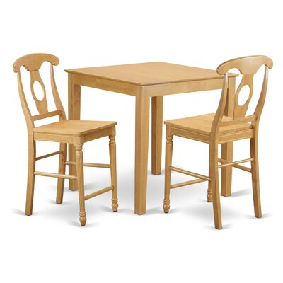 3 Piece Counter Height Pub Table Set Color: Oak