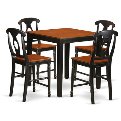 5 Piece Counter Height Pub Table Set Color: Black/Cherry