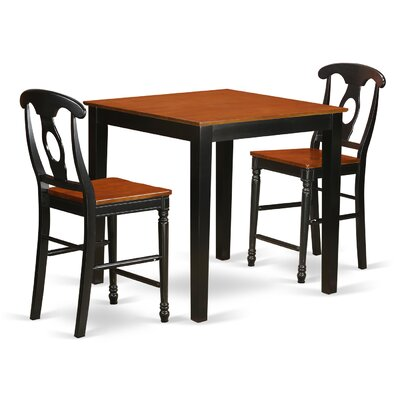3 Piece Counter Height Pub Table Set Finish: Black/Cherry