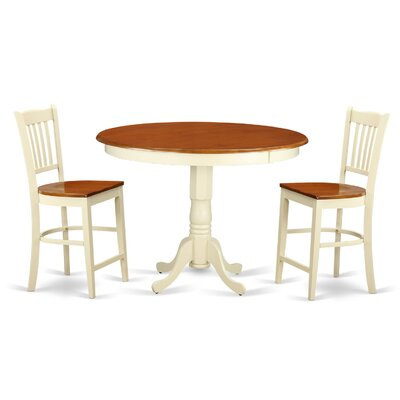Trenton 3 Piece Counter Height Pub Table Set Finish: Buttermilk/Cherry
