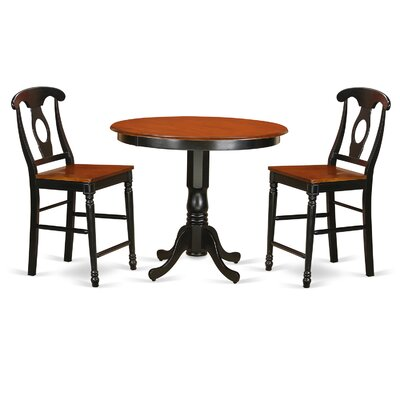 Trenton 3 Piece Counter Height Pub Table Set Color: Black and Cherry