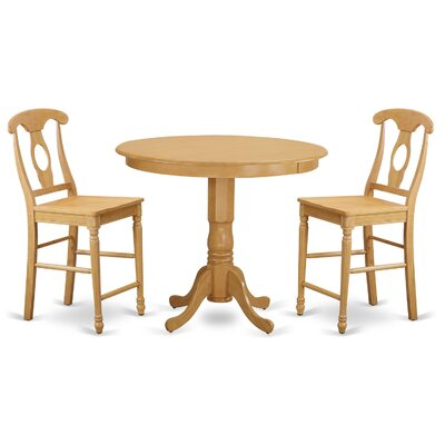 Trenton 3 Piece Counter Height Pub Table Set Finish: Oak