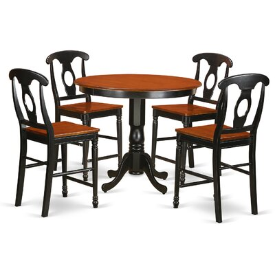 Trenton 5 Piece Counter Height Pub Table Set Color: Black and Cherry
