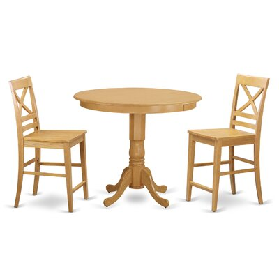 Trenton 3 Piece Counter Height Pub Table Set Color: Oak
