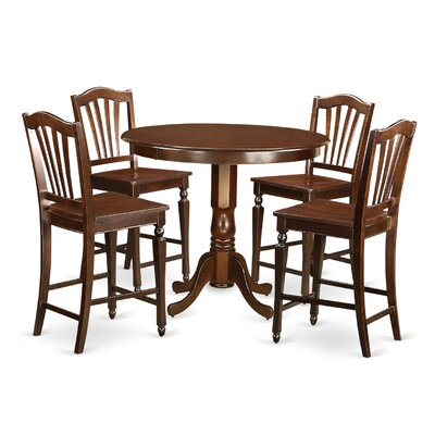 Trenton 5 Piece Counter Height Pub Table Set Color: Mahogany