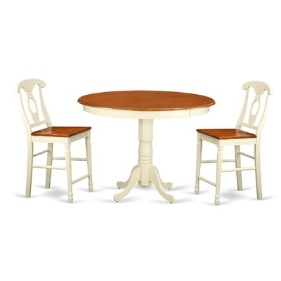 Trenton 3 Piece Counter Height Pub Table Set Finish: Buttermilk and Cherry