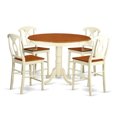 Trenton 5 Piece Counter Height Pub Table Set Color: Buttermilk and Cherry