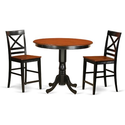 Trenton 3 Piece Counter Height Pub Table Set Finish: Black and Cherry