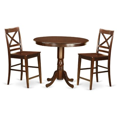 Trenton 3 Piece Counter Height Pub Table Set Finish: Mahogany
