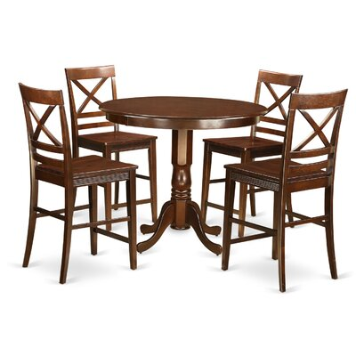 Trenton 5 Piece Counter Height Pub Table Set Finish: Mahogany