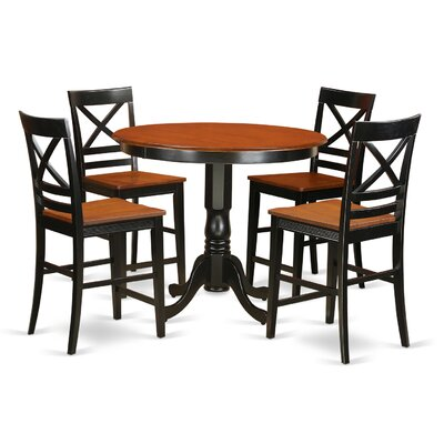 Trenton 5 Piece Counter Height Pub Table Set Finish: Black and Cherry