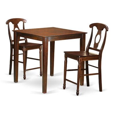 Vernon 3 Piece Counter Height Pub Table Set Finish: Mahogany