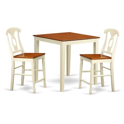 Vernon 3 Piece Counter Height Pub Table Set Finish: Buttermilk and Cherry