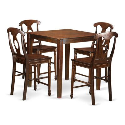 Vernon 5 Piece Counter Height Pub Table Set Color: Mahogany