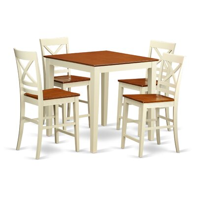 Vernon 5 Piece Counter Height Pub Table Set Color: Buttermilk and Cherry