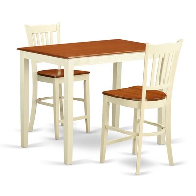 Yarmouth 3 Piece Counter Height Pub Table Set Color: Buttermilk and Cherry