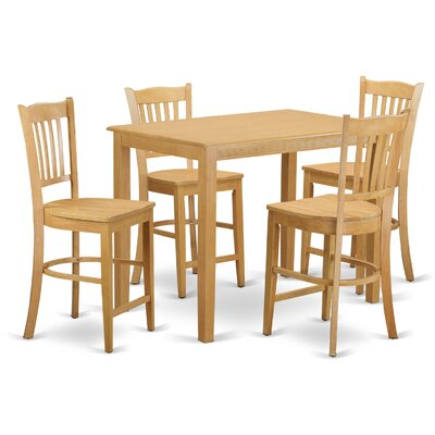 Yarmouth 36 5 Piece Pub Table Set Color: Oak