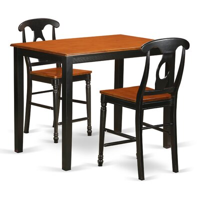 Yarmouth 36 3 Piece Pub Table Set Color: Black and cherry