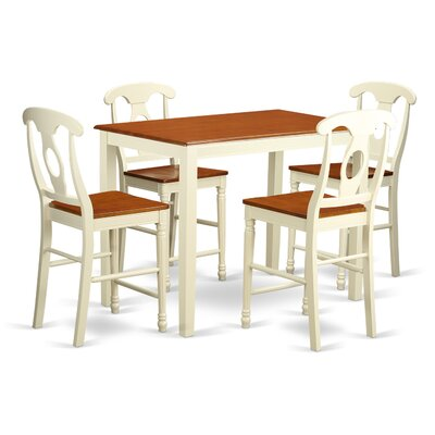Yarmouth 36 5 Piece Pub Table Set Color: Buttermilk/cherry