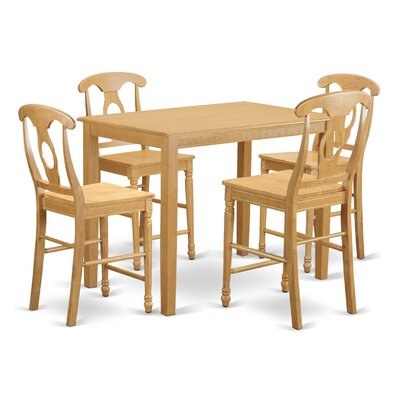 Yarmouth 36 inch 5 Piece Pub Table Set Finish: Oak